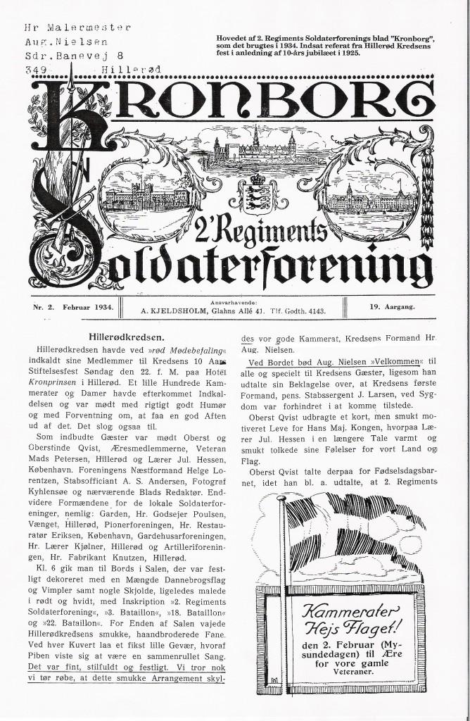 1934 2. regiments soldaterblad